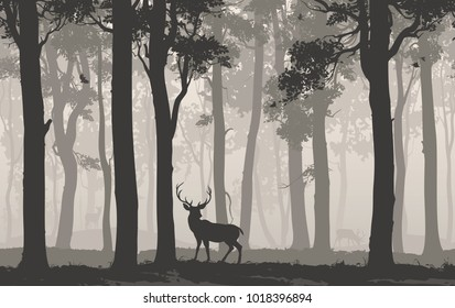 Horizontal seamless background with deciduous forest, birds and deer. Vector illustration