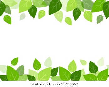 Horizontal seamless background with green leaves. Vector EPS-10.
