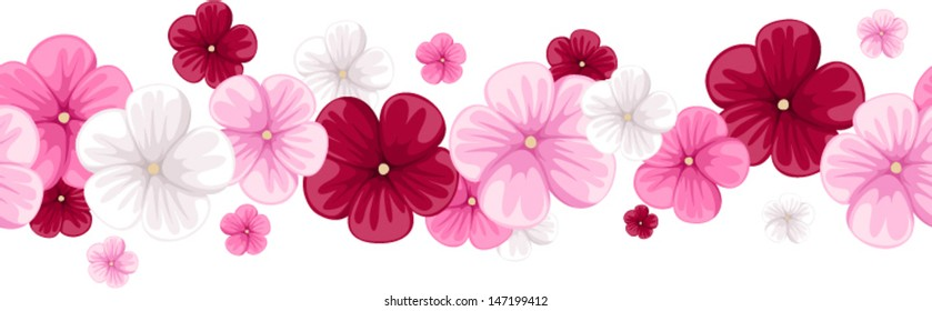 Horizontal seamless background with mallow flowers. Vector illustration.