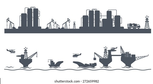 Horizontal seamless background with Petroleum industry, vector illustration
