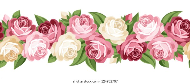 Horizontal seamless background with roses. Vector illustration.