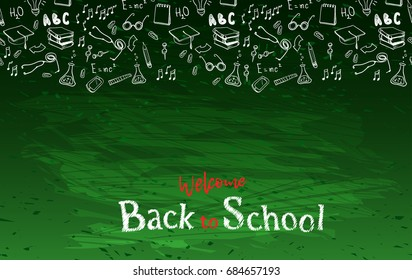 Horizontal seamless border with alphabet characters or letters and text welcome back to school chalk on blackboard. Vector illustration stock vector.