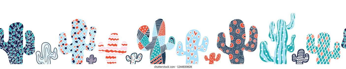 Horizontal seamless border with decorative cacti.