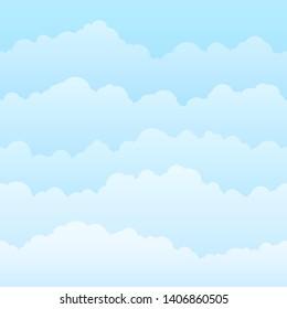 Horizontal seamless clouds. Skyline repeat texture. Vector illustration