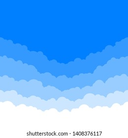 Horizontal seamless clouds. Skyline repeat texture. Sky background. Paper clouds layers. Vector illustration
