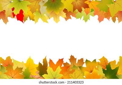 Horizontal seamless pattern of autumn leaves, vector illustration.
