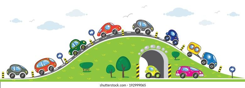 Horizontal Seamless Pattern Cars On Road Stock Vector (Royalty Free)  192999065