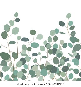 Horizontal seamless pattern with eucalyptus. Floral ornament with silver dollar eucalyptus branches. Elegant design for bedding textile, cards, borders. Vector