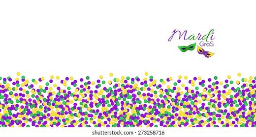 Horizontal Seamless pattern. Mardi Gras Carnival confetti border, masks in purple, green and yellow. Carnival Party, vector.