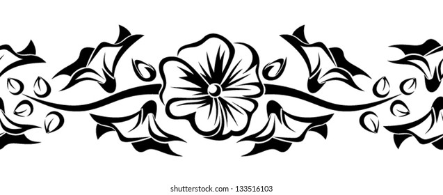 Horizontal seamless vignette with mallow flowers. Vector illustration.