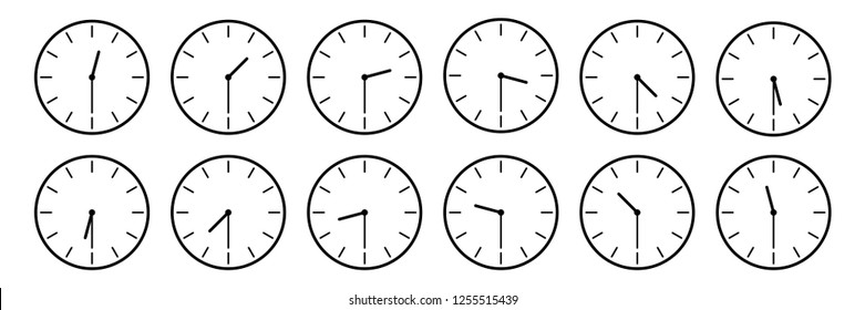 horizontal set of analog clock icon notifying each half an hour time isolated on white,vector illustration.