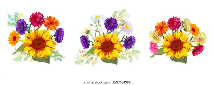 Horizontal set bouquets autumn flowers: sunflowers, gerbera, daisy flowers, asters, twigs Asparagus, white background. Digital draw, illustration in watercolor style for design, panoramic view, vector