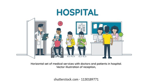 Horizontal set of medical services with doctors and patients in hospital. Vector illustration of reception,