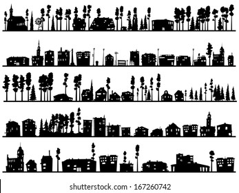 Horizontal silhouettes of childish abstract buildings and trees.