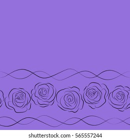 Horizontal sketch with dashed effect. Seamless pattern with vector black and violet rose flowers and copy space (place for your text).