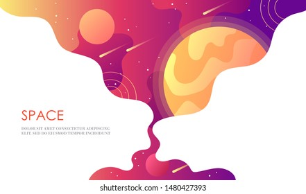 Horizontal space banner. Universe with planets, stars and asteroids. Template for design of landing page, web page, poster, flyer, presentation. Vector cartoon illustration.