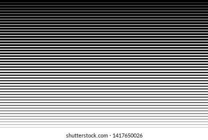 Horizontal speed line halftone pattern thick to thin. Vector illustration.