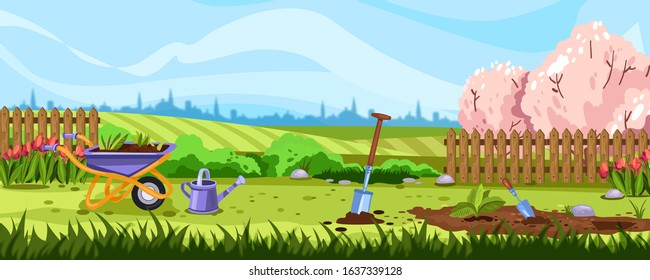 Horizontal spring landscape with backyard, gardening equipment and flowerbed with seedling. Banner with fields, fence, pink blooming trees, garden, wheelbarrow, shovel and tulips.