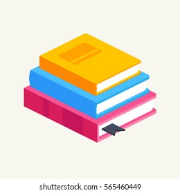 horizontal stack of colored books in isometric.education infographic template design with books pile.Set of book icons in flat design style.vector illustration of isolated layers in the background.