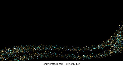 Horizontal Star Background. Gold, Blue stars, shiny confetti.  Scattered little sparkling, glitter star. Random stellar falling on black background. New Year Christmas background. Vector illustration.
