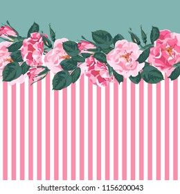 Horizontal striped pattern with, rose, peony, leaves and bud. Cute wedding floral vector design frame. Banner stripe element.