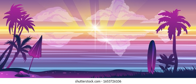 Horizontal summer background with palms, umbrella, surfboard, beach, sunset and ocean. Paradise seascape with tropical trees outlines. Idyllic view for tourism advertisements, web banners, flyers.