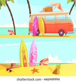 Horizontal surfing banners with bus ready for trip and surfboards on beach retro cartoon flat vector illustration