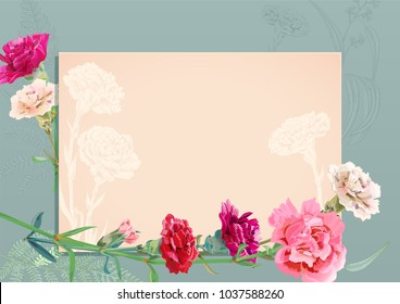 Horizontal template card for Mother's Day with carnation schabaud: red, pink, white flowers, green leaves (fern, eucalyptus), vintage background, hand draw, vintage botanical illustration, vector