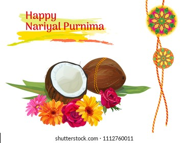 Horizontal template card for Nariyal Purnima Indian festival celebration with coconuts, decorative Rakhi, orange, red, yellow roses, chrysanthemums flowers on white background, vector illustration, A4