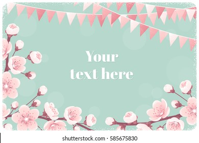 Horizontal template with cherry blossom, spring flowers, party flags. Retro vector illustration. Bokeh background. Place for your text. Design for invitation, banner, card, poster, flyer