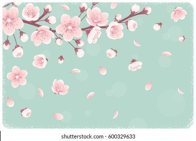 Horizontal template with cherry blossom, spring flowers, falling petals. Retro vector illustration. Place for your text. Design for invitation, banner, card, poster, flyer