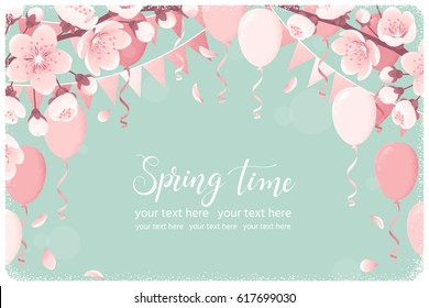 Horizontal template with cherry blossom, spring flowers, party flags, balloons, falling petals. Retro vector illustration. Spring time lettering. Place for your text. Invitation, banner, poster, flyer
