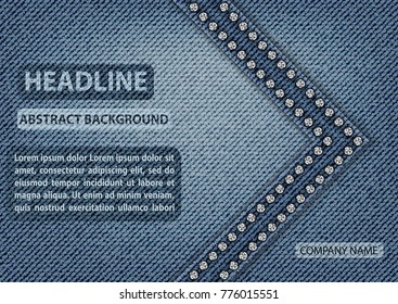 Horizontal template design for cover with jeans texture. Banner in A4 size.