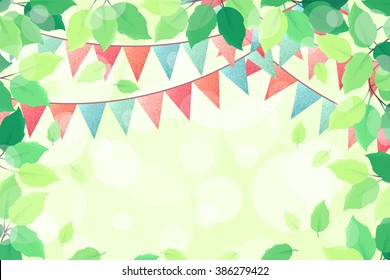 Horizontal template with fresh green spring leaves and multicolored party flags. Retro vector illustration. Bokeh background. Place for your text. Design for invitation, banner, card, poster, flyer