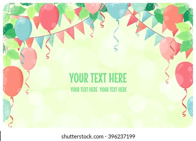 Horizontal template with fresh green spring leaves, multicolored party flags and balloons. Retro vector illustration. Place for your text. Invitation, banner, card, poster, flyer, gift certificate