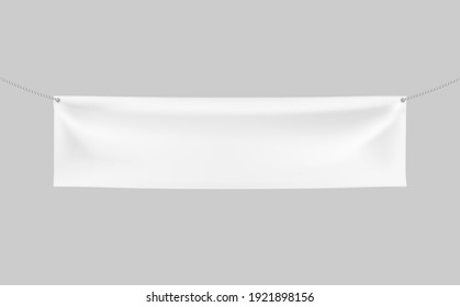 Horizontal Textile Banner with 2 holes and ropes. 3d Vector realistic White banner with folds. Blank Template for Design and Advertising. Awning, Poster, Textiles, PVC, Vinyl, Nylon ect. EPS 10.