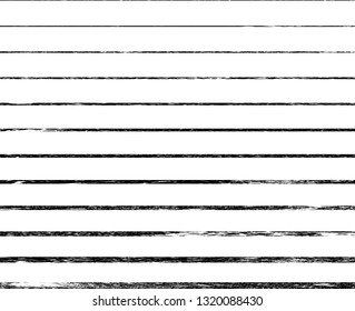 Horizontal textured Stripes. Vector isolated grunge lines