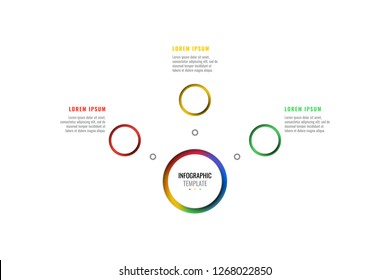 horizontal three steps design layout infographic template with round 3d realistic elements. process diagram for brochure, banner, annual report