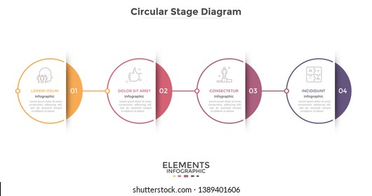 Horizontal timeline with 4 circular paper white elements connected into chain. Concept of four steps to leadership and business success. Modern infographic design template. Vector illustration.
