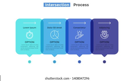 Horizontal timeline with 4 intersected translucent rectangular elements. Concept of four successive stages of business process. Modern infographic design template. Flat vector illustration for report.