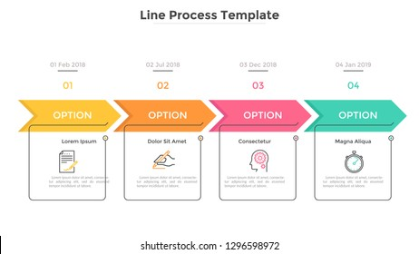 Horizontal timeline with 4 square elements, arrows and dates. Four successive steps of business project development. Modern infographic design template. Flat vector illustration for progress bar.
