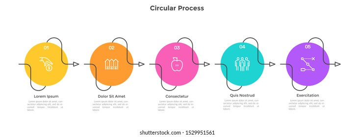 Horizontal timeline with 5 circular elements connected by curved arrows. Concept of five successive steps of business progress and development. Infographic design template. Flat vector illustration.