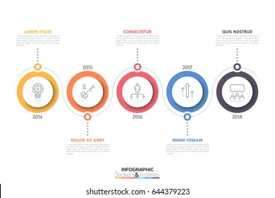 Horizontal timeline with 5 circular elements, thin line icons inside them, year indication and text boxes. Minimal infographic design template. Vector illustration for brochure, banner, annual report.
