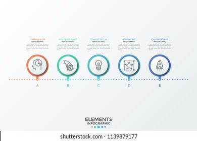 Horizontal timeline with 5 round elements, linear symbols and text boxes. Concept of 5 successive steps to product release. Creative infographic design template. Vector illustration for brochure.