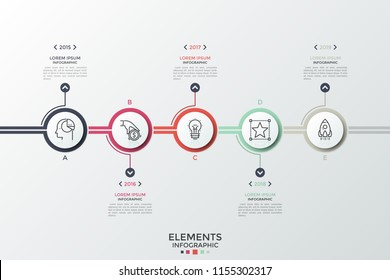 Horizontal timeline with 5 round paper white elements, linear symbols inside, year indication and place for text. Concept of annual business planning. Infographic design template. Vector illustration.