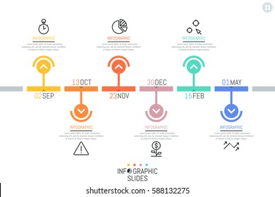 Horizontal timeline, 6 elements with date indication and arrows pointing at icons and text boxes. Infographic design template. Task scheduler concept. Vector illustration for website, presentation.