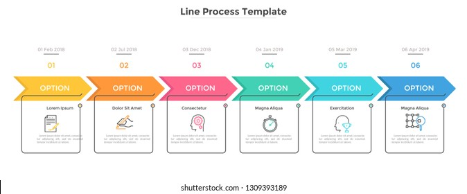 Horizontal timeline with 6 square elements, arrows and dates. Six successive steps of business project development. Modern infographic design template. Flat vector illustration for progress bar.