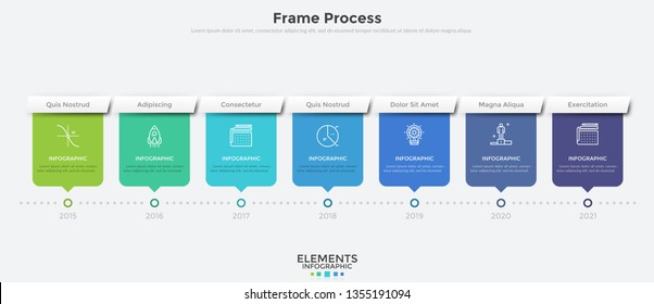 Horizontal timeline with 7 rectangular elements and year indication. Flat infographic design template. Modern vector illustration for company's annual progress or development history visualization.
