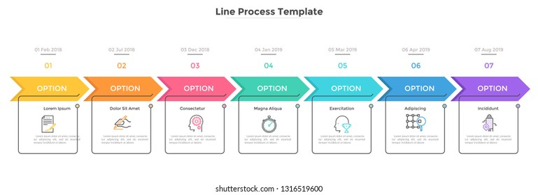 Horizontal timeline with 7 square elements, arrows and dates. Seven successive steps of business project development. Modern infographic design template. Flat vector illustration for progress bar.