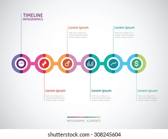 horizontal timeline infographics with a six color circle in the